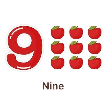 Flash card di vocabolario per bambini. nove a con l'immagine nove