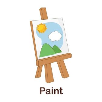Flash card di vocabolario per bambini. dipingi con la vernice per immagini