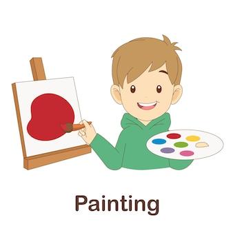 Flash card di vocabolario per bambini. dipingere con la pittura di immagini