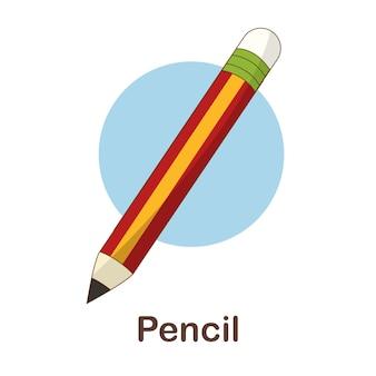 Flash card di vocabolario per bambini. matita per con foto matita per Vettore Premium