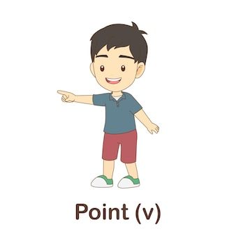 Flash card di vocabolario per bambini. indicare con l'immagine puntare a