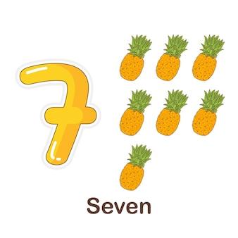 Flash card di vocabolario per bambini. sette a con l'immagine sette a