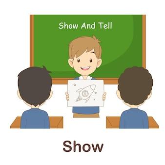 Flash card di vocabolario per bambini. mostra a con immagine mostra a