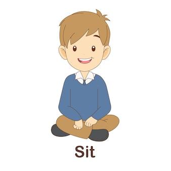 Flash card di vocabolario per bambini. siediti con l'immagine siediti a