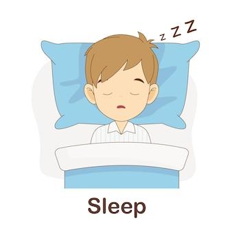Flash card di vocabolario per bambini. dormi con l'immagine dormi per
