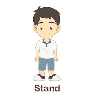 Flash card di vocabolario per bambini. stare con supporto per foto