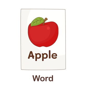 Flash card di vocabolario per bambini. parola con parola immagine