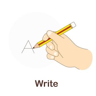 Flash card di vocabolario per bambini. scrivi a con l'immagine scrivi
