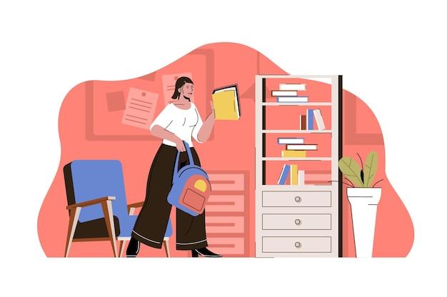 Concetto di scuola professionale gli studi degli studenti si precipitano alle classi acquisiscono competenze professionali