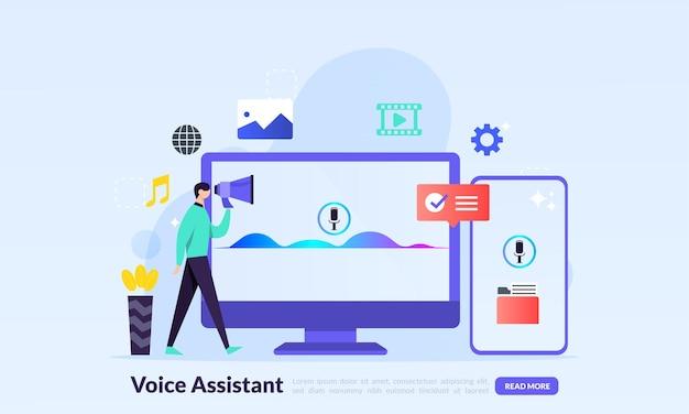 Concetto di assistente vocale, schermo del computer con tecnologie intelligenti per onde sonore, tecnologia per il riconoscimento dell'identità personale e l'autenticazione dell'accesso