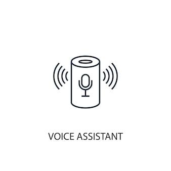 Icona della linea del concetto di assistente vocale. illustrazione semplice dell'elemento. disegno di simbolo di contorno del concetto di assistente vocale. può essere utilizzato per ui/ux mobile e web