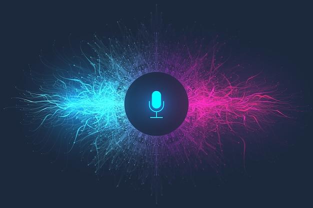 Concetto di assistente vocale. onda sonora. priorità bassa del flusso d'onda dell'equalizzatore di riconoscimento vocale e del suono.