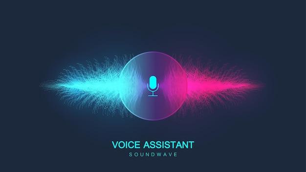 Concetto di assistente vocale. onda sonora. fondo del flusso dell'onda dell'equalizzatore di riconoscimento vocale e del suono.