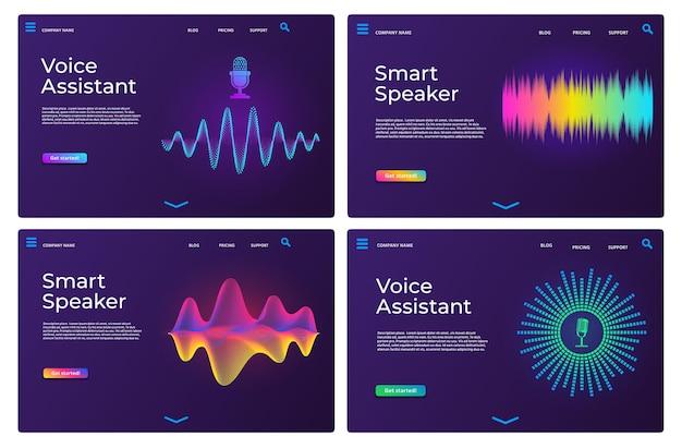 Pagine di destinazione dell'assistente vocale. modelli web per altoparlanti intelligenti con onde audio e microfono. insieme di vettore della pagina dell'app di riconoscimento del suono online. voce intelligente per l'applicazione, illustrazione digitale ai