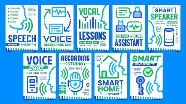 Poster promozionali per il controllo dei comandi vocali
