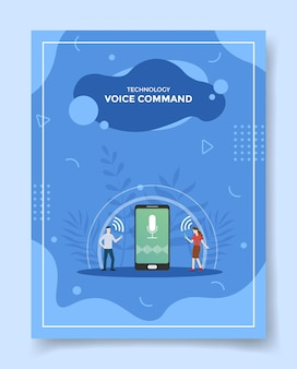 Illustrazione di tecnologia di controllo vocale Vettore Premium