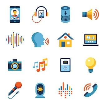 Raccolta di icone dell'interfaccia utente di controllo vocale