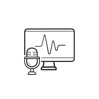 Icona di doodle di contorno disegnato a mano di smart tv e microfono a comando vocale. riconoscimento vocale, concetto di casa intelligente. illustrazione di schizzo vettoriale per stampa, web, mobile e infografica su sfondo bianco.