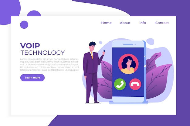 Voice over ip, telefonia ip concetto di tecnologia voip.