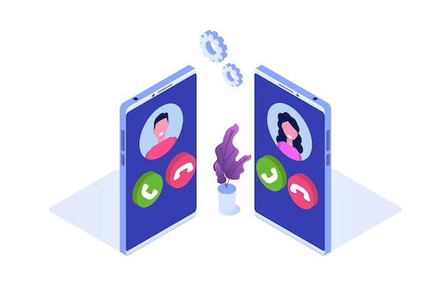 Voice over ip, concetto isometrico di tecnologia voip di telefonia ip.