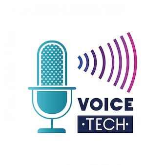 Etichetta tecnica vocale con microfono e onda sonora
