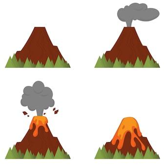 Processo di eruzione vulcanica. disastro in stile cartone animato lineare.