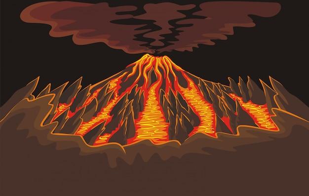 Sfondo del vulcano con lava