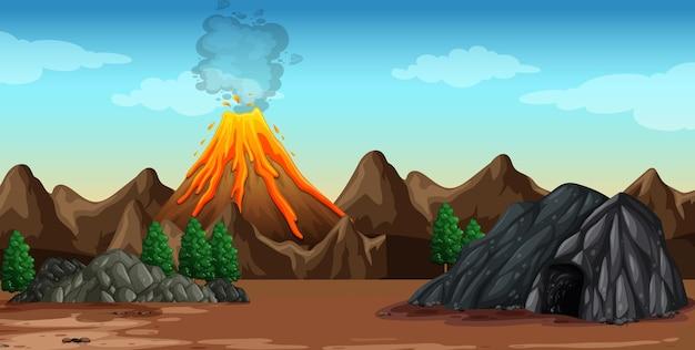 Eruzione del vulcano nella scena della natura