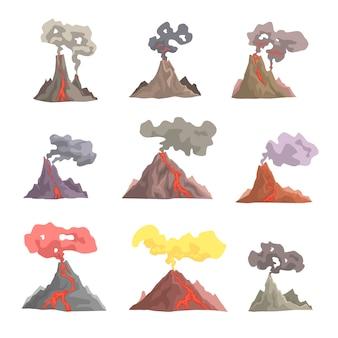 Set di eruzione vulcanica, magma vulcanico che esplode, lava che scorre giù illustrazioni di cartoni animati