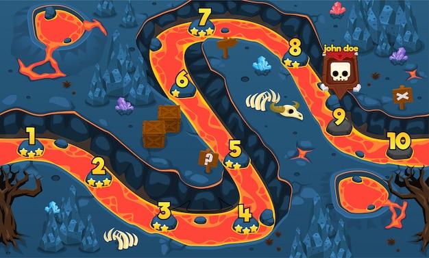 La mappa del livello di gioco del vulcano