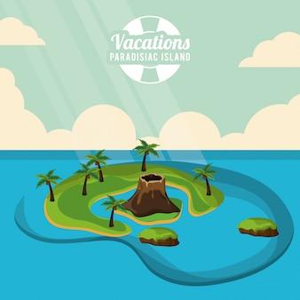 Manifesto paradisiaco dell'isola di vacanze delle palme dell'isola di vulcano