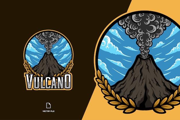 Modello di gioco sportivo logo mascotte vulcano montagna