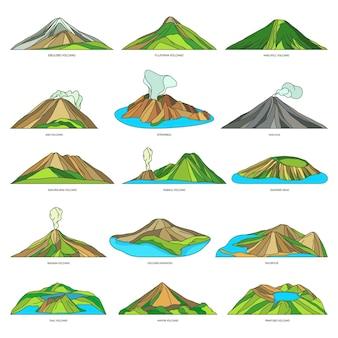 Insieme dell'icona del paesaggio del paesaggio delle viste naturali del vulcano
