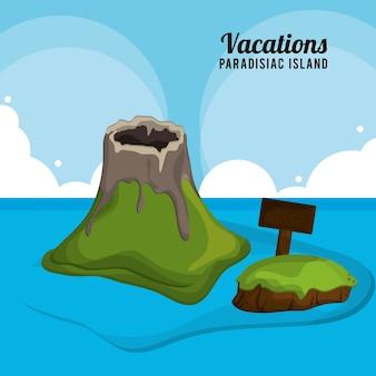Isola paradisiaca di vacanze del bordo di legno del vulcano