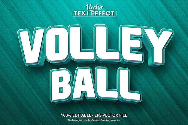 Effetto di testo modificabile in stile cartone animato di pallavolo Vettore Premium