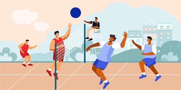 Composizione del campo da pallavolo di uno scenario all'aperto con paesaggio urbano e giocatori di squadra con rete e illustrazione arbitro di seduta