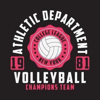 Stampa pallavolo new york per abbigliamento con palla emblema tipografico per tshirt