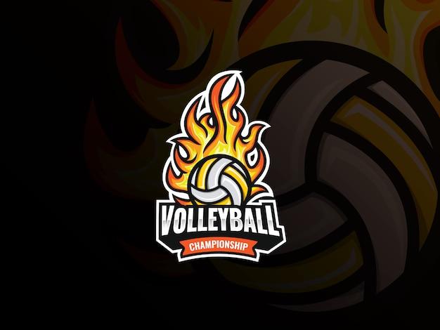 Logo design sport pallavolo. distintivo di vettore di palla di pallavolo fiammeggiante. pallavolo con illustrazione vettoriale di fuoco