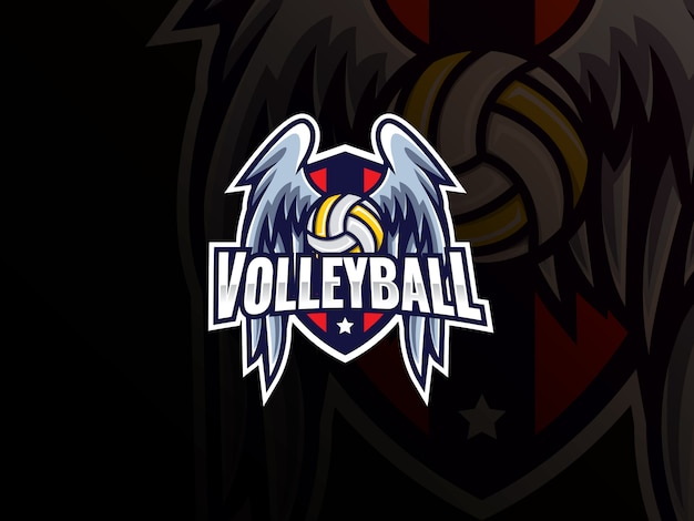 Logo design sport pallavolo. illustrazione di vettore del distintivo del segno del club di logo di pallavolo. pallavolo con ali e scudo