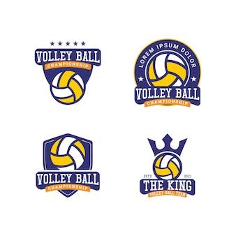 Concetto di design del logo del campionato della squadra di pallavolo