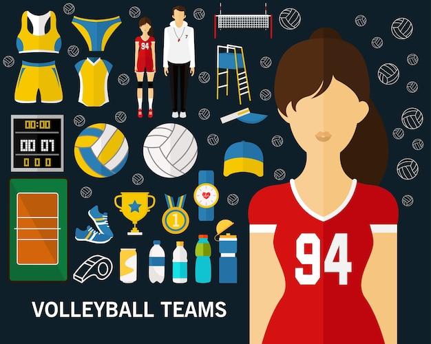 Pallavolo, squadre, fondo icone piatte.
