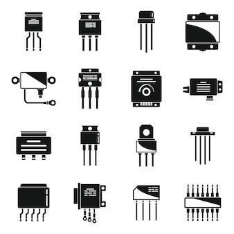 Regolatore di tensione set di icone vettore semplice. batteria argon. controller del caricabatterie
