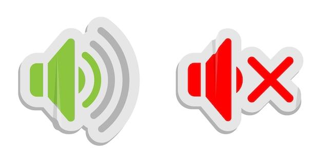 Icone della carta per il controllo del volume. i pulsanti di controllo multimediale suonano e disattivano l'audio
