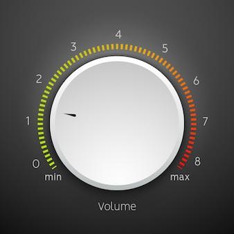 Pannello dell'icona della manopola di controllo della musica del volume. interfaccia elemento manopola audio.