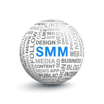 Sfera volumetrica 3d con diverse parole sulla promozione smm e sulla pubblicità su internet. illustrazione vettoriale