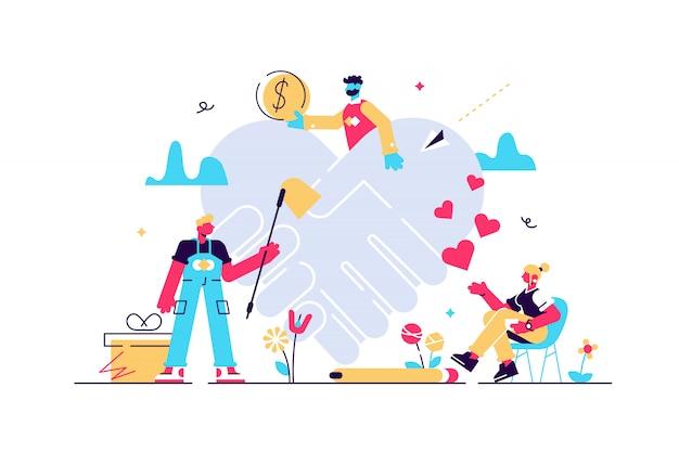 Concetto di aiuto volontario, illustrazione piatta persone minuscole. aiuto globale per crisi sanitarie e finanziarie e attività di fondazione di beneficenza. programma di assistenza sociale. simbolo astratto della stretta di mano del cuore.