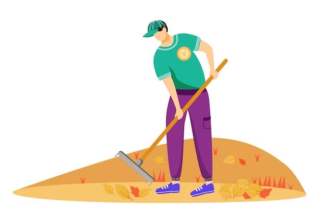 Illustrazione volontaria delle foglie di pulizia. lavoratore di servizio comunitario nel personaggio dei cartoni animati uniforme su fondo bianco. attivista ambientale che lavora con i rastrelli. faccende stagionali