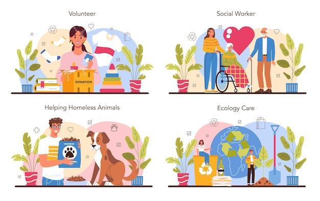Insieme di concetto di volontariato. l'assistente sociale sostiene le persone anziane e disabili, aiuta gli animali senzatetto, si prende cura dell'ecologia del pianeta. carità e assistenza umanitaria. illustrazione piatta vettoriale