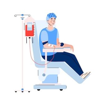 Il volontario dona il sangue per l'illustrazione piana di vettore del fumetto dell'ospedale isolata