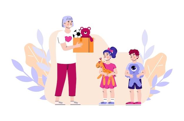 Volontariato che dona giocattoli all'illustrazione piana di vettore del fumetto dei bambini isolata